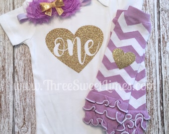 First Birthday Baby Girl Outfit | Bodysuit |  Purple Gold Glitter | Lavender 1st Photo Shoot Smash Cake | Leg Warmer Tutu Bloomer Headband