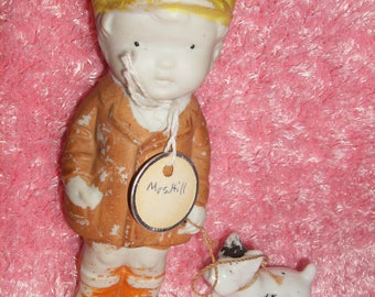 Vintage Frozen Charlotte Doll Bisque Boy Figure MADE IN JAPAN 1920'sYellowHat,PennyDutch,Dog