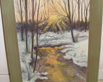 M. Gillette Vintage Painting SUNLIT STREAM In Winter Forest Under Bare Trees