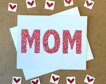 Mothers Day Card - MOM - Hearts - Mom Love - Card for Mom - Mother's Day - Mom's Day - Fun Mother's Day - Mom Card - Happy Mother's Day