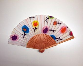 Hand fan Handpainted Silk- Abanico-Wedding gift-Giveaways-Bridesmaids- Spanish hand fan - Circles Hand Fan 17 x 9 inches (43 cm x 23 cm)