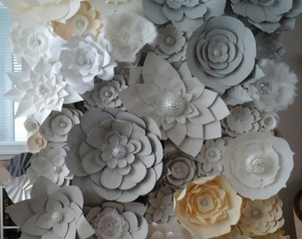 DIY Paper Flower Backdrop (Ivory, Grey, White) | Paper Flowers | Paper Flower Wall | Paper Flower Wedding | Photo Backdrop | Wedding Decor