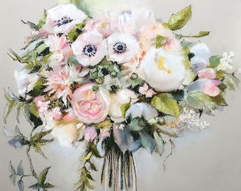 Wedding Bouquet Custom Painting, Soft Pastels Painting, MADE TO ORDER, Commission Painting, Anniversary Gift, Bridal Bouquet Painting