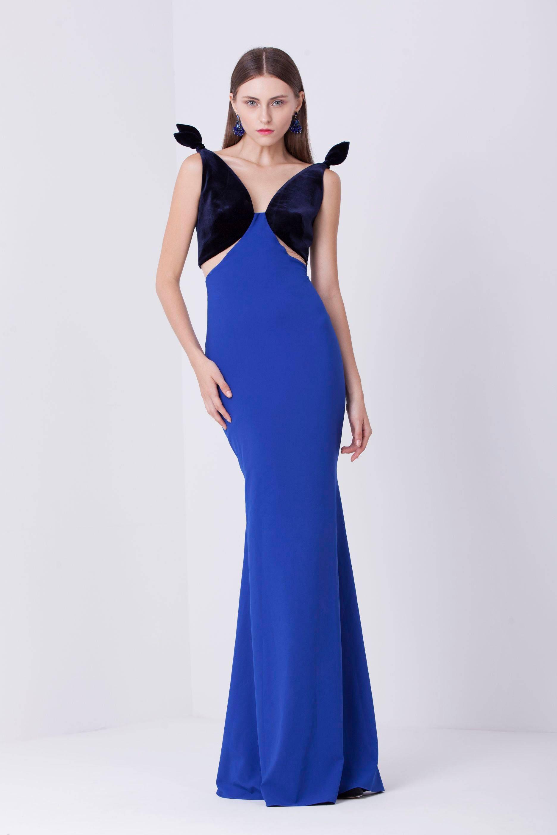 Blau Abendkleid Hochzeit Gast besonderen Anlass Kleid