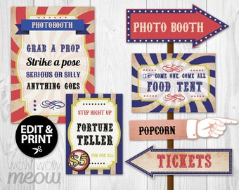 Large Circus Signs A3 Size 28 Vintage Printables DOWNLOAD Direction Arrow Signpost Personalize Birthday Carnival Party Edit Hand Editable