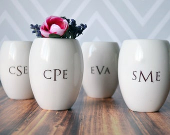 Bridesmaid Gift - Set of 4 - Monogramed Vase - Gift Boxed and Ready to Give