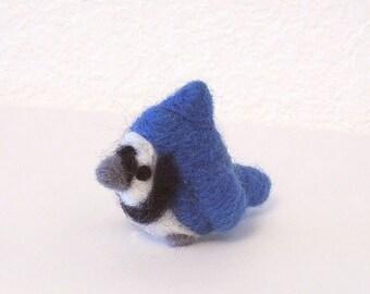 Needle Felted Blue Jay Bird Soft Sculpture Figurine - Made to Order - Felt Blue Jay Fiber Art Doll - Felted Blue Jay Bird Art