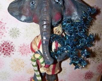 Folk Art Vintage Style Colorful Whimsical Santa Elephant Doll Tinsel Tree Ooak