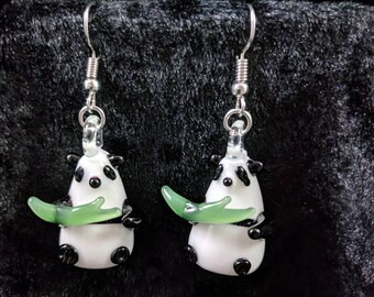 Glass panda earrings #423