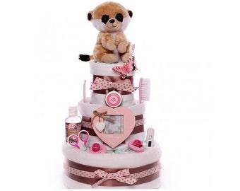 Three tier baby girl nappy cake, nappy cake pink 3 tiers, large luxury nappy cake baby girl, Mum to be nappy cake, baby shower nappy cake,