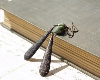 Oxidized brass earrings verdigris green patina southwestern style