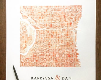 Customized WEDDING SIGN Signatures City MAP Watercolor City Block Plan (Art Print) Choose Any of the City Maps in my Shop