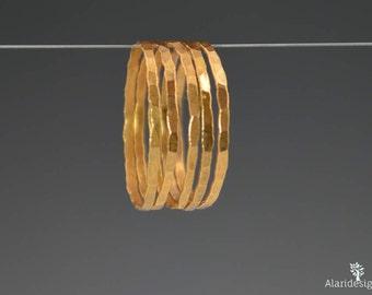 Set of 5 Rose Gold Vermeil Stacking Rings, Rose Gold Stacking Rings, Thin Rose Gold Ring, Rose Gold Jewelry, Rose Gold Ring Set, Rose Gold