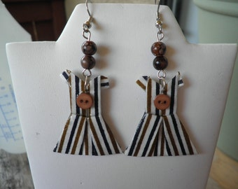Origami Brown stripped Dress earrings with a button