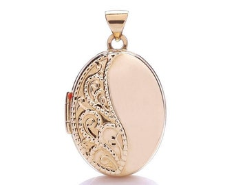 9ct Rose Gold Oval Shaped Locket With Pretty Lace Embossed Design