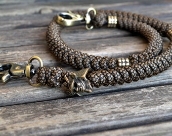 Paracord wallet chain, key chain, jean wallet chain with brass beads, samurai helmet, carabiners, accessories, mens gift, gift for him