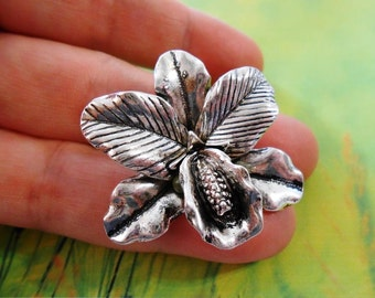 LARGE Orchid Pendant Antique silver orchid charms Orchid jewelry findings Orchid necklace Flower charms Flower pendant Cattleya Botanical