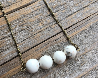 White Turquoise and Bronze Stone Fox handmade high quality crystal necklace
