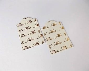 Mr and Mrs Gift Tags, Jewelry Cards, Gold Paper Tags, Etsy Shop Supplies, Place Cards, DIY Wedding, Set of 12 Gift Tags