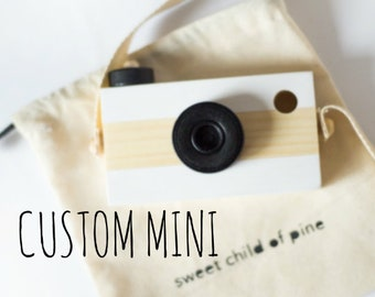 NEW MINI wooden play camera, CUSTOM, personalize, ready to ship