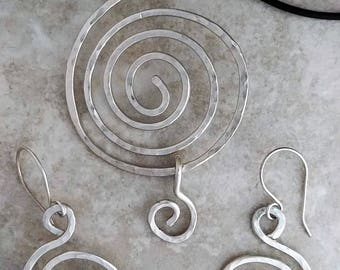 Spiral Pendant and Earrings Handmade in 925 Sterling Silver