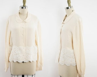 Peter Pan Collar Top - Cream Silk Long Sleeve Blouse - Button Up Top - Lace - Women's Large / Extra Large - Ready to Wear
