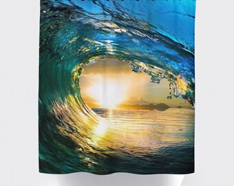 Ocean wave shower curtain, Bathroom shower curtains, bathroom curtain, home decor, bathroom decor, surfing,sunset curtains, ocean curtains.