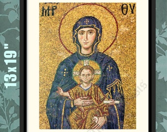 Byzantine Art, 2, Mosaic, Hagia Sofia, Constantinople, Virgin Mary Decor, Virgin Mary Print, Virgin Mary Art, Virgin Mary Icon, Greek Icons