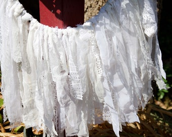 "White Lace Wedding  Garland 22"" by 18""  Baby Shower Garland, Baptism Garland, Shabby Chic Garland"
