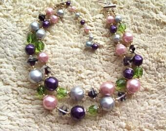 "Vintage Givre Glass DOUBLE STRAND NECKLACE  Fruit Salad  - "" Japan "" Beads - Black Purple Green Pink"