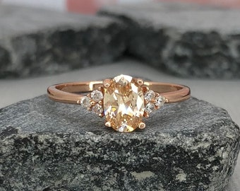 14K Solid Rose Gold Oval Champagne Diamond Simulated Dainty Stone Three Stone Engagement Wedding Promise Ring