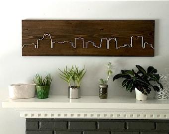Orlando skyline, modern minimalist wall art, living room wall art, dining room wall art, bedroom wall art, wood wall art, entry way, gift
