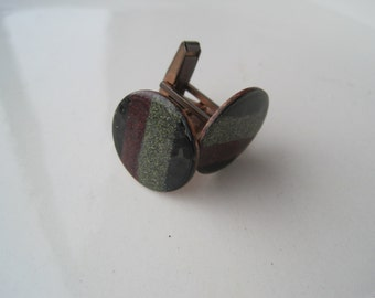 Mid Century Modern Enamel on Copper Cuff Links Black Gray Merlot