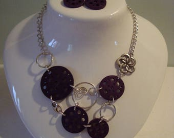 Original set necklace earrings silver purple