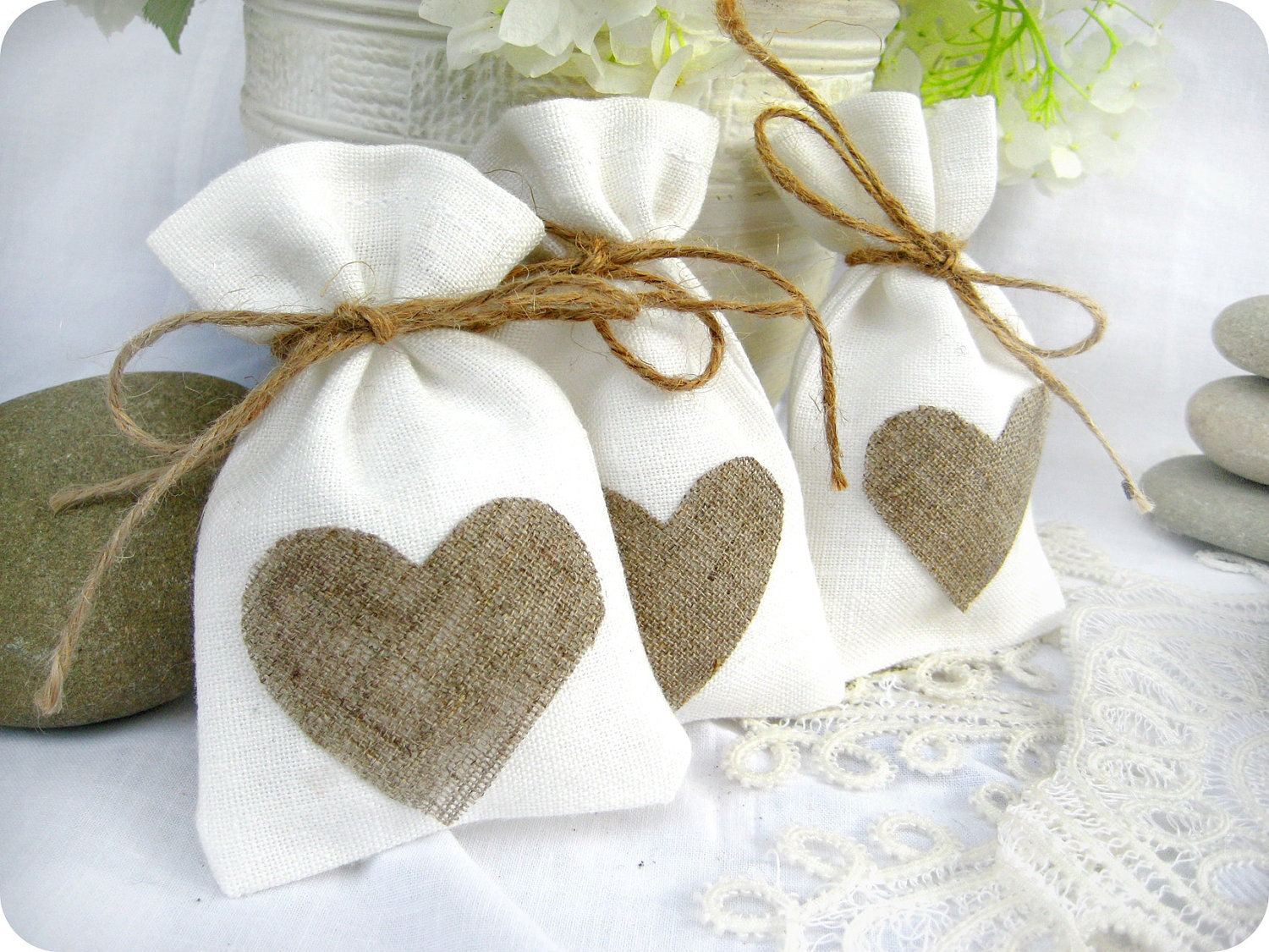 Wedding favor bags Set of 35 White Rustic Linen Wedding