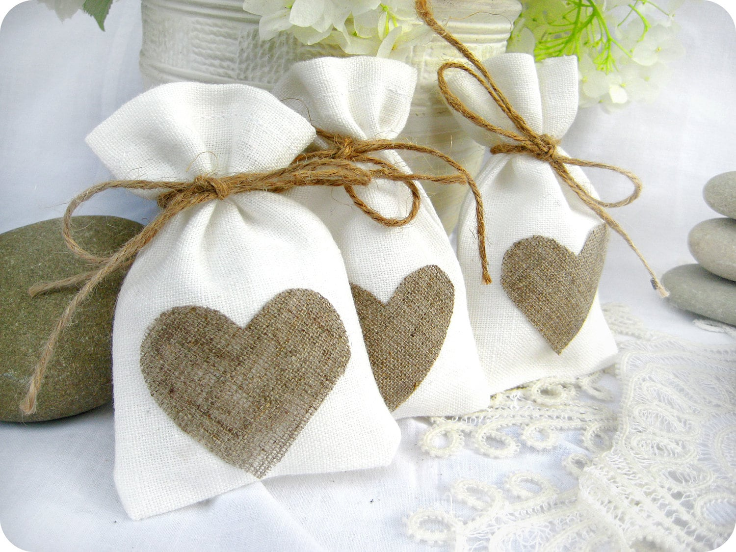 Set of 50-Wedding favor bags White Rustic Linen Wedding