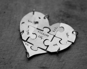 personalized sterling silver heart shape jigsaw puzzle (charms/pendant - custom order - personalize) - necklaces