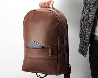 Brown Leather Backpack, 13-inch Laptop Rucksack, Back To School. Travel Designer Bag. Personalized Gifts For Men. Mens Bags. Custom Monogram