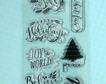 Recollections Holiday Clear Cling Stamps Scrapbooking/Paper Crafts