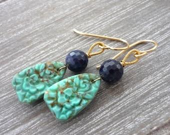 Vintage turquoise glass drop & blue sapphire drop earrings. Gold filled. Something blue