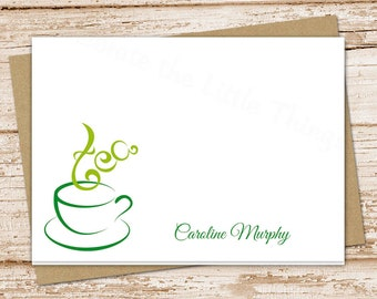 personalized tea note card . tea cup stationery . stationary . folded cards . tea lover notecards . set of 8