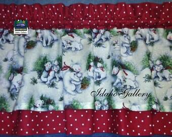 Polar Bear Curtain Momma Bear Cubs Free Ship Holiday Decor Kitchen Curtain Christmas Decor Animal Valance Nature S Winget Fabric Red White