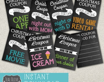 Christmas Coupons \ Stocking Stuffers \ DIY Printable \ Instant Download