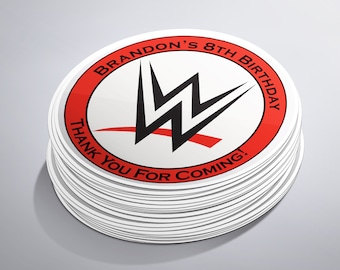 WWE Birthday Party, Round Stickers, Wrestling Stickers, wwe Stickers, wwe Birthday, Wrestling Birthday, wwe Party,  Wrestling Theme