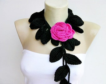 crochet jewelry /crochet pendant / crochet necklace/ with pink rose  flower brooch