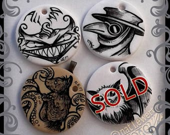 Halloween Pendant Cheshire Cat Pendant Plague Doctor Pendant Cthulhu Jewelry Art Illustration Art Jewelry Gift for Friend Gothic Pendant