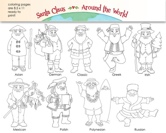 Santa Claus Around The World Digital Clip Art Coloring Pages