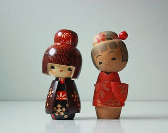 2 Vintage wood kokeshi dolls