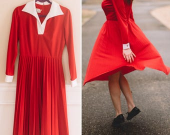 Vintage Red Pleated Dress | 1960s School Dress