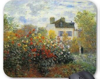 Monet Rose Garden Mousepad Mouse Pad monets garden in argenteuil